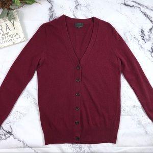J Crew wool blend button down maroon cardigan Sz S